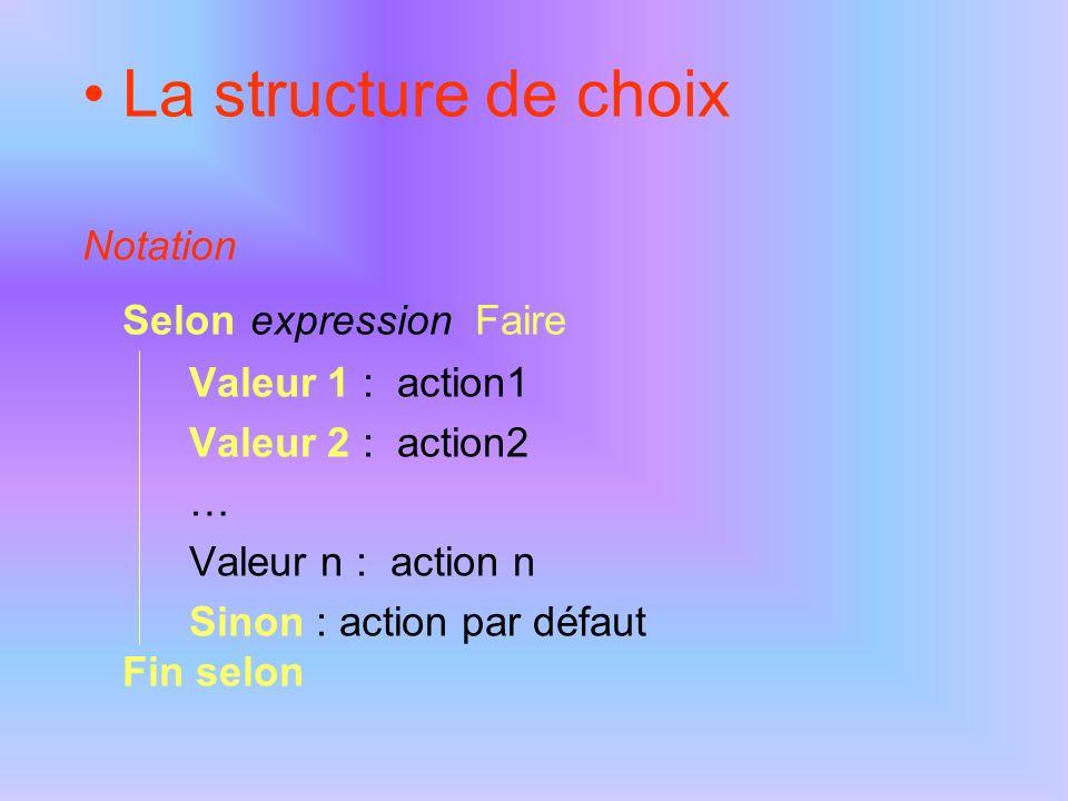 La structure Tant que… Fin Tant que Permet la répétition d une (ou plusieurs) action(s) tant qu une condition est satisfaite.