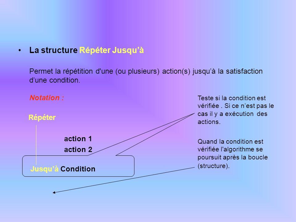 Exemple : Algo : prix_du_pain Variables -------------------- Rep : chaîne de caractères Constantes ------------------- Début (* remarque : une facture sera obligatoirement éditée *) Répéter Afficher Prix ? Saisir Prx Afficher Nombre ? Saisir Nb Mtt Prx * Nb Si Mtt > 2000 Alors Rem Mtt * Tx1 Sinon Rem Mtt * Tx2 Fin si Mtt Mtt – Rem Afficher « Voulez-vous une autre facture .