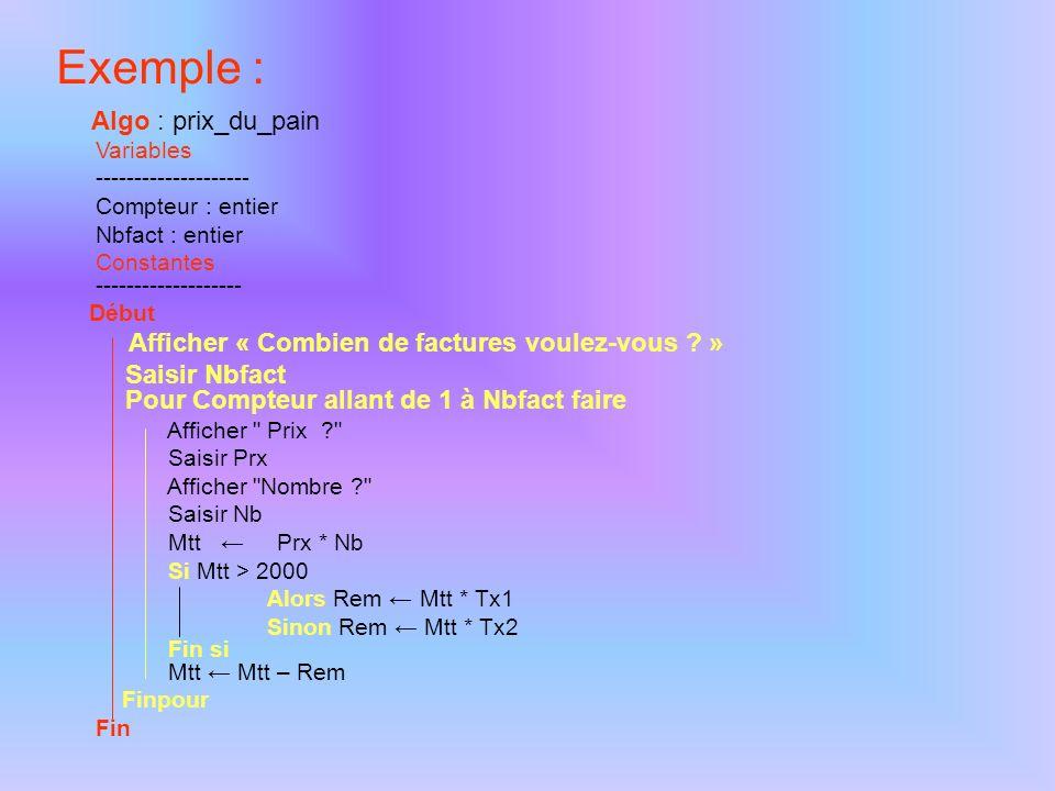 Les variables cumulatives Ce sont des variables qui permettent de cumuler des valeurs calculées dans la boucle ou encore pour dénombrer le nombre de passage.