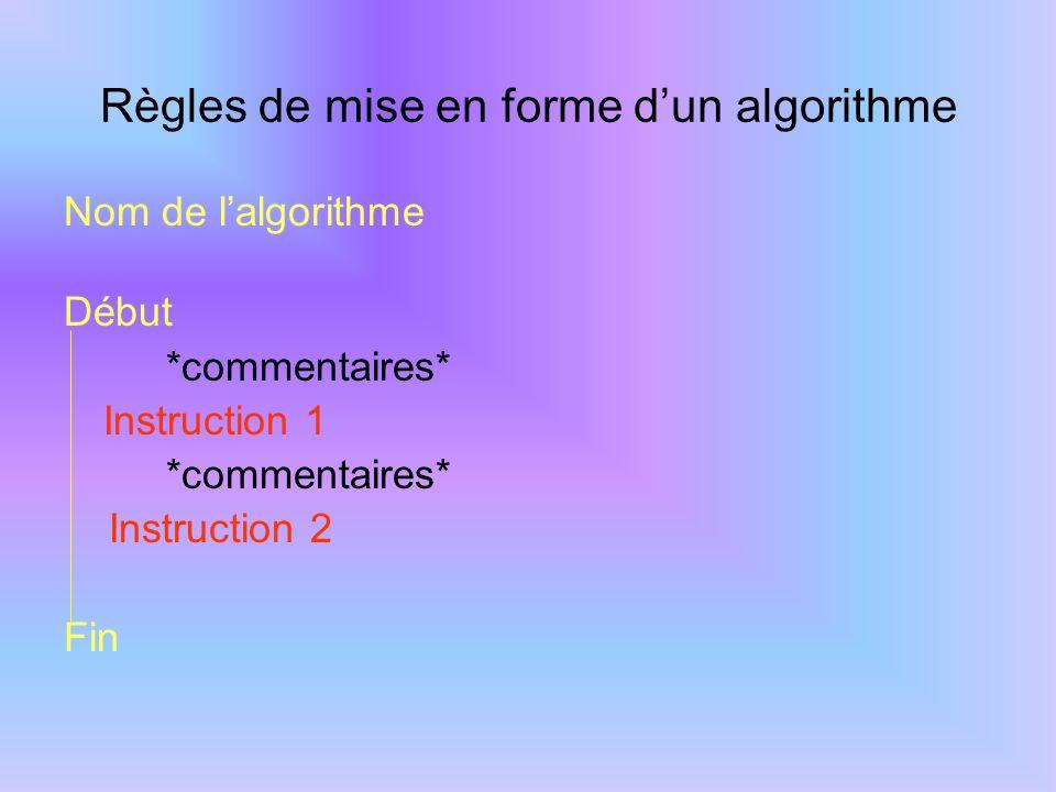 Les objets utilisés dans un algorithme Les différents objets Les variables Une variable est un objet contenant une valeur appelée à être modifiée au cours de l algorithme.