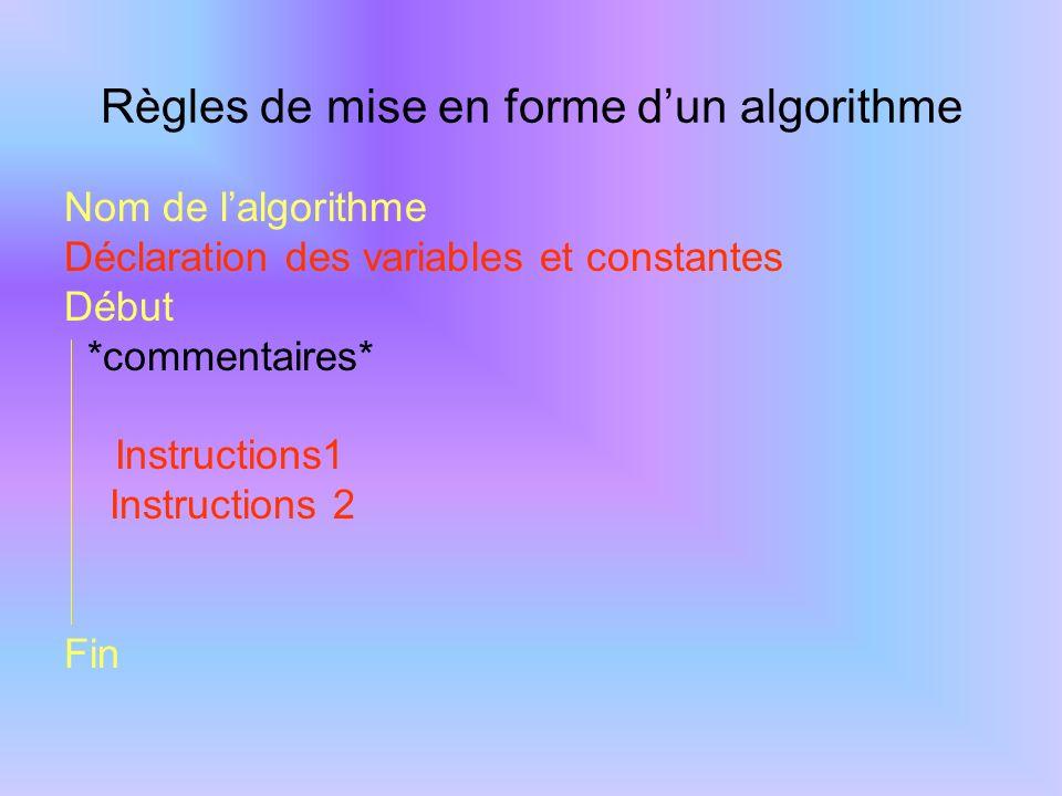 Exemple Algo : Prix_du_pain Variables Nom : chaîne de caractères Nb : Entier Prx, Mtt, Rem : Réel Constantes Txrem=0,1 Début *commentaires* Instruction1 Instruction2 Fin