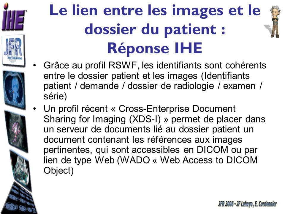 Cross-Enterprise Document Sharing for Imaging (XDS-I) Sélection dimages Serveur de documents Web Accès à la sélection WADO Serveur dimages Web Accès aux images DICOM