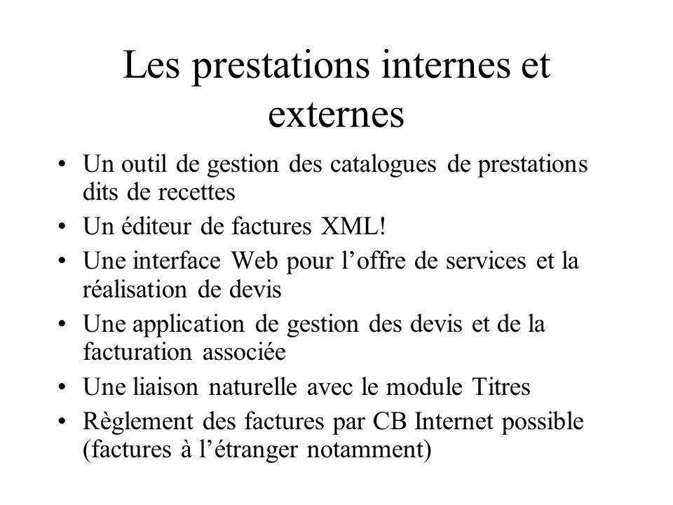 Points abordés Gestion du catalogue : remises quantitatives et multi-imputations par catalogue Création de la prestation interne Génération des factures