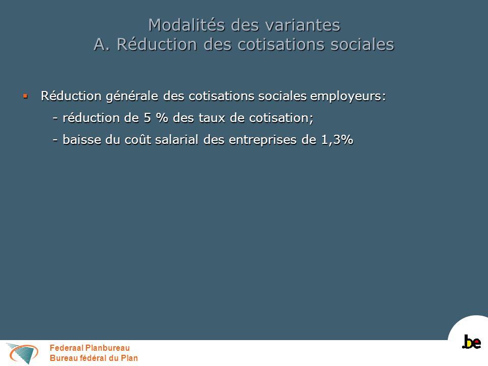 Federaal Planbureau Bureau fédéral du Plan Modalités des variantes A.