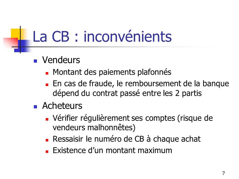 Les fraudes sur la CB Français déclarants avoir subi une fraude par carte : Jamais : 73.8% Online 6.9% Offline (en dehors dInternet) 12.6% Ne sais pas 6.7% Niveau important par rapport au volume de transaction 7% de produits high-tech vendus en ligne Sources: LObservatoire de la sécurité des moyens de paiement, JDN 8/10/2004 Chiffres clefs du commerce en ligne 2007, FEVAD 8