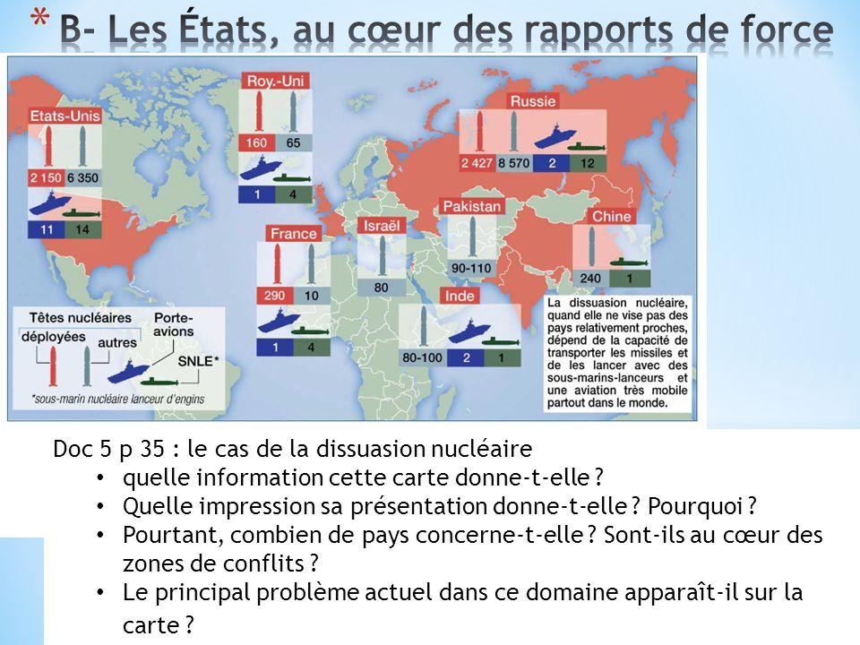 Doc 6 p 35 : la gestion des conflits Quelles informations cette carte donne-t-elle .