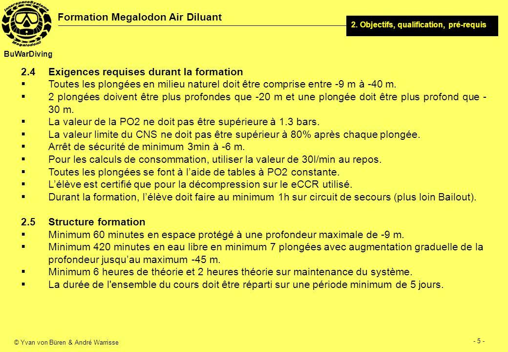 © Yvan von Büren & André Warrisse - 6 - Formation Megalodon Air Diluant BuWarDiving 2.6 Equipements requis Un eCCR Megalodon.