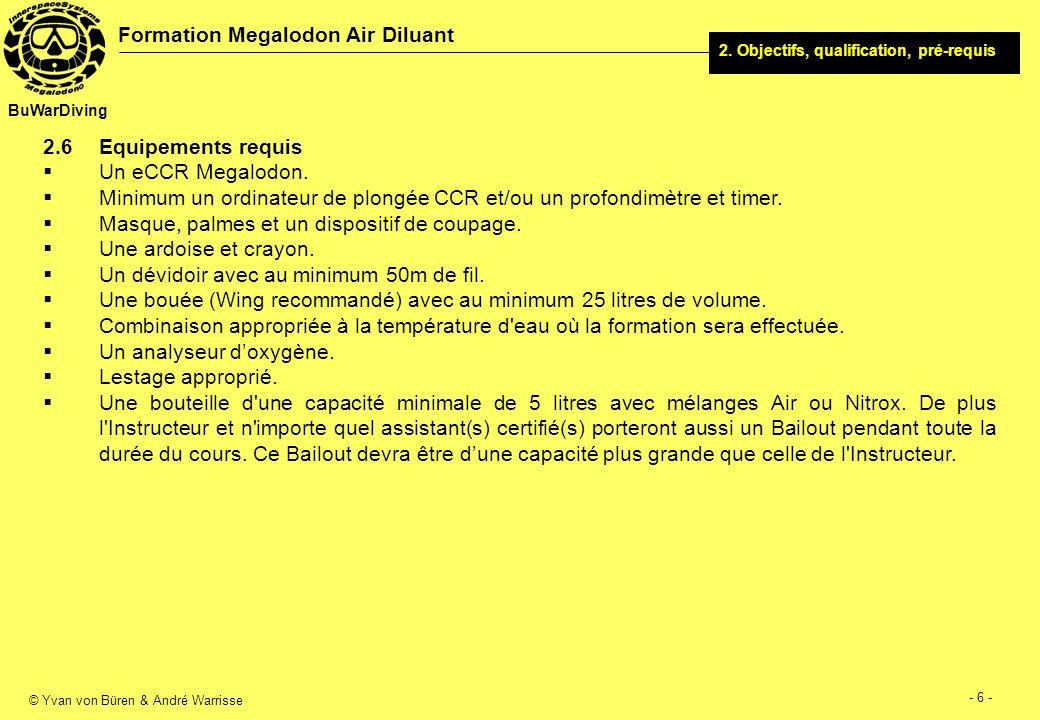 © Yvan von Büren & André Warrisse - 7 - Formation Megalodon Air Diluant BuWarDiving 3.1Sujets théorie Histoire et évolution des recycleurs.