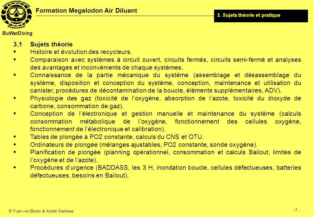 © Yvan von Büren & André Warrisse - 8 - Formation Megalodon Air Diluant BuWarDiving 3.2Sujets pratique Contrôles pré-plongée (mise en place du système, remplissage épurateur, contrôles positif et négatif).