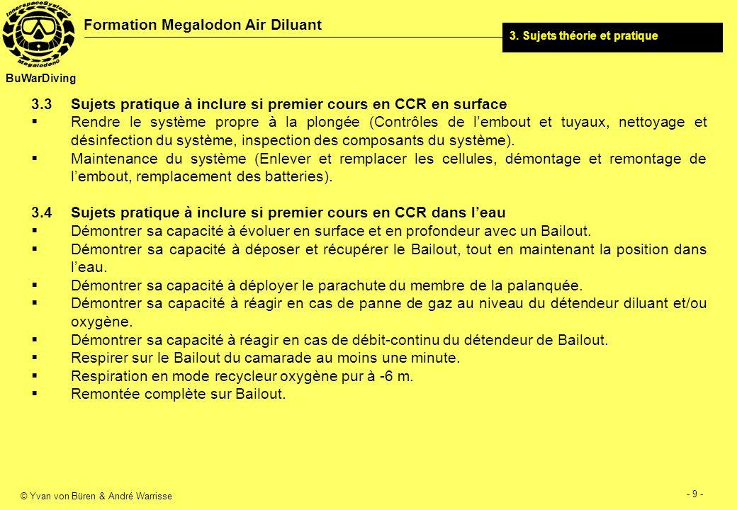 © Yvan von Büren & André Warrisse - 10 - Formation Megalodon Air Diluant BuWarDiving Pratique 1 Espace protégé Pratique 2 - 10 Espace libre 4.