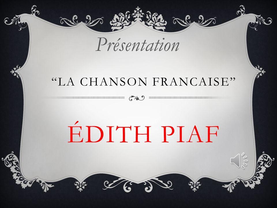ÉDITH GIOVANNA GASSION (19 décembre 1915 10 octobre 1963 (19 décembre 1915, Paris - 10 octobre 1963, Grasse) est une chanteuse française de music- hall et de variétés.