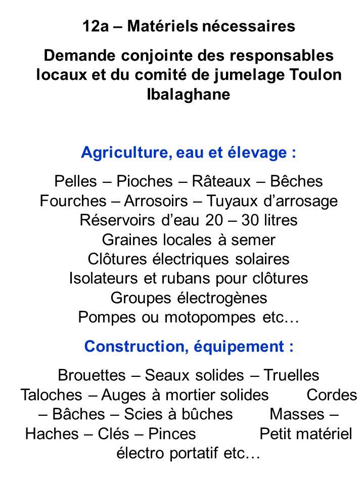 12b – Matériels scolaires Cest un besoin en appui des actions du comité de jumelage Toulon Ibalaghane, qui a construit une école et participe à son équipement matériel.