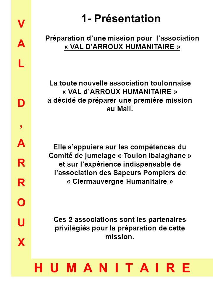 VALD,ARROUXVALD,ARROUX H U M A N I T A I R E 2- Projet Mission pour lassociation « VAL DARROUX HUMANITAIRE » Durée de 30 jours Acheminement de véhicules au Mali Acheminement de 5 remorques construites Acheminement de matériel scolaire Acheminement de matériel de maraîchage Départ de Toulon sur Arroux le 4 Janvier 2010, par lItalie, la Tunisie, la Libye, le Niger et arrivée au Mali.