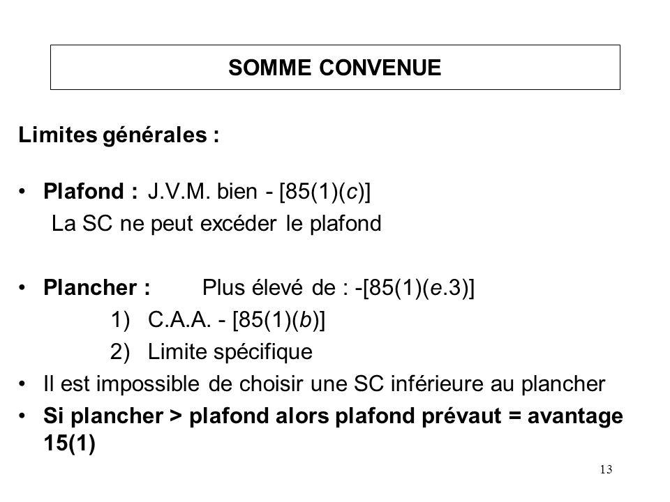 14 SOMME CONVENUE (suite) Limites spécifiques : Somme convenue ne peut être inférieure au moindre de : BA* [85(1)(e)]IA* [85(1)(d)] Autres biens** [85(1)(c.1)] FNACC catégorie4/3 MCIAN/A Coût en capital Coût du bienCoût du bien VM du bienVM du bienVM du bien # 24 (2) b) *On doit déterminer l ordre de la disposition.