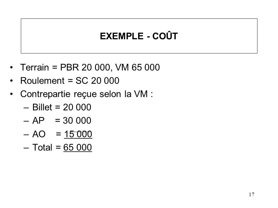 18 EXEMPLE - COÛT (suite) On doit se retrouver dans la même situation après la vente A.Vente du terrain 65 000 entraîne un GC 45 000 B.Vente de la contrepartie à 65 000 devra entraîner un GC de 45 000 –Billet : PD 20 000 - (PBR = VM = 20 000) =0 –AP : * PD 30 000 - (PBR = SC - 20 000 = 0) = 30 000 –AO : * PD 15 000 - (PBR = SC - 20 000 - 0 = 0) = 15 000 –Total 45 000 * Pas un achat / rachat par la société Quel est le CV des AP et AO?