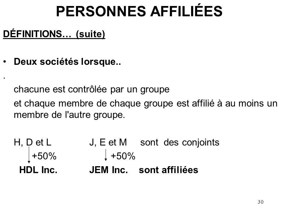 31 PERSONNES AFFILIÉES DÉFINITIONS… (suite) Une société et une société de personne (SDP) lorsque… –société est contrôlée par un groupe dont chaque membre est affilié à au moins un membre du groupe d associés détenant une participation majoritaire de la SDP ET –chaque membre de ce groupe d associés est affilié à au moins un membre du groupe donné H, D et L sont les conjoints de J, E et M +50 % HDL Inc.