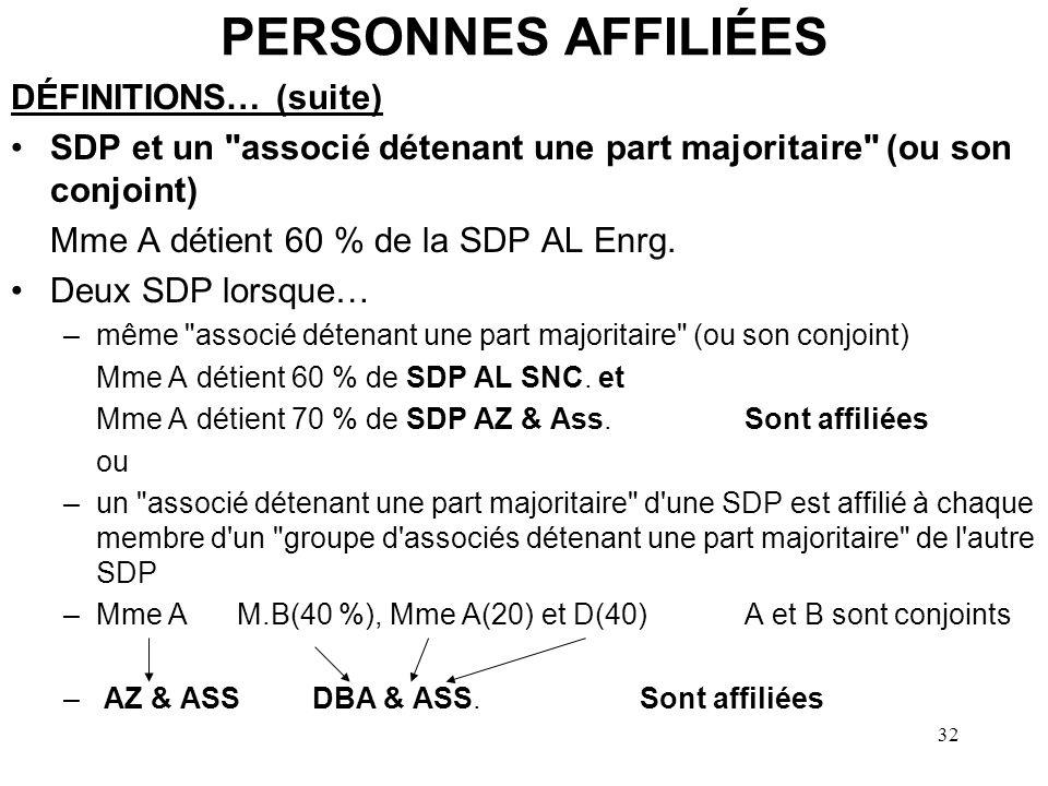 33 PERSONNES AFFILIÉES DÉFINITIONS… (suite) Deux SDP lorsque –chaque membre d un groupe d associés détenant une part majoritaire de chaque SDP est affilié à au moins un membre de l autre groupe A,B,C, D et E(20%)W,X,Y et Z (25 %)sont conjoints Zac & AssZoom & Asssont affiliées