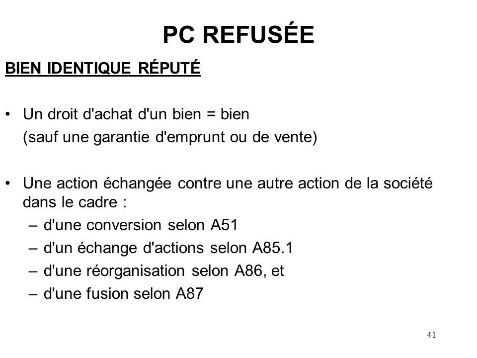 42 PC REFUSÉE PERTE APPARENTE Lorsque….