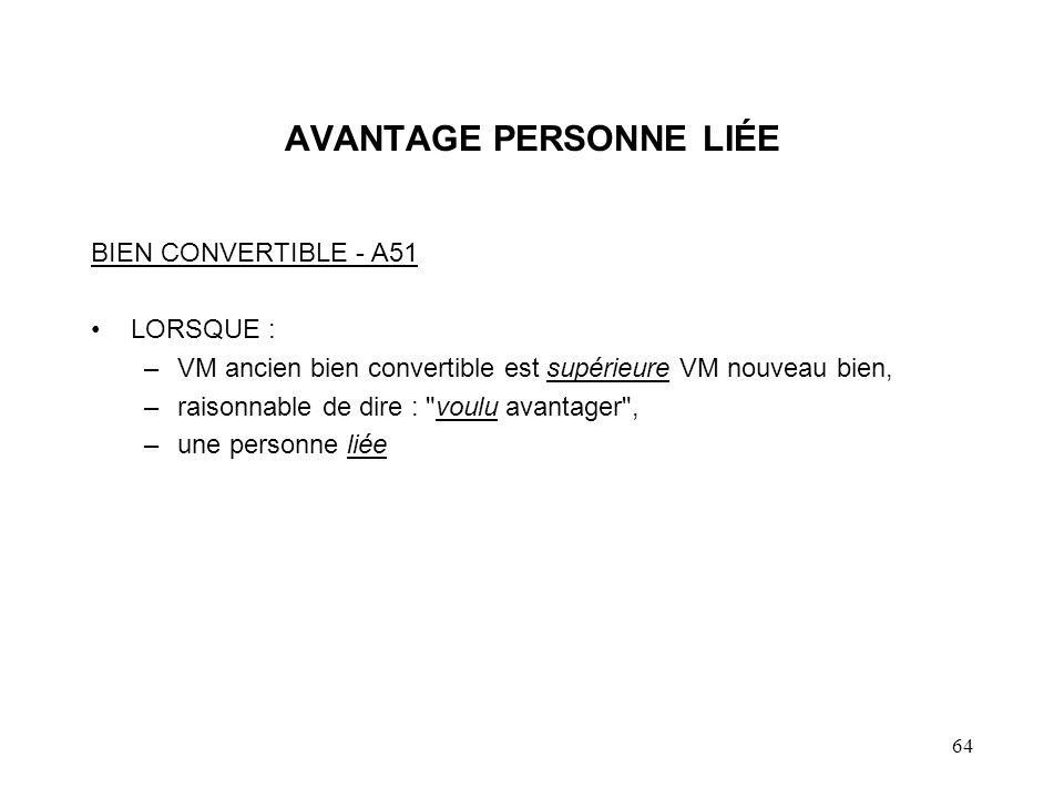 65 CONSÉQUENCES AVANTAGE PERSONNE LIÉE (suite) PD ancien bien est égal au moindre du : –PBR ancien bien + valeur de l avantage, et –VM ancien bien.