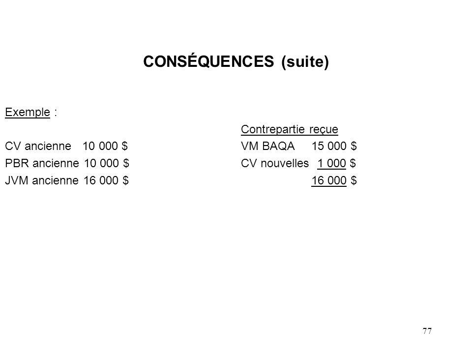 78 CONSÉQUENCES (suite) Conséquences : CV anciennes = JVM BAQA + CV nouvelles 10 000 < 15 000 + 1 000 10 000 - 15 000 = CV nouvelles1 000 $ Réduction de CV1 000 CV nouvelles