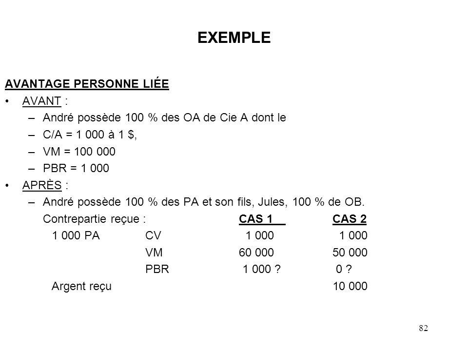 83 EXEMPLE (suite) UNE SOLUTION CAS 1 –PD OA = le moindre de : JVM BAQA + avantage = 0 + 40 000 = 40 000 JVM OA = 100 000 PD: 40 000 - PBR 1 000 = GC 39 000 –PBR PA = (PBR OA - JVM BAQA - avantage) = (1 000 - 0 - 40 000)= 0 Disposition éventuelle des PA PD - 60 000 - PBR = 0 = GC 60 000 $ et aucun ajustement pour la valeur de l avantage sur les actions OB.