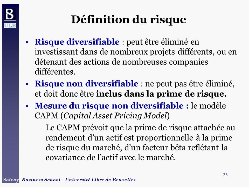 24 Solvay Business School – Université Libre de Bruxelles Définition du risque CAPM (Capital Asset Pricing Model) : –Soit un investissement sur lensemble du marché des actions.