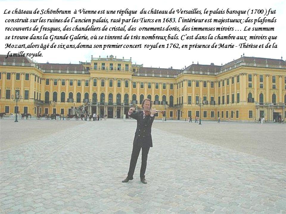 Le château de Schönbrunn à Vienne est une réplique du château de Versailles, le palais baroque ( 1700 ) fut construit sur les ruines de lancien palais, rasé par les Turcs en 1683.