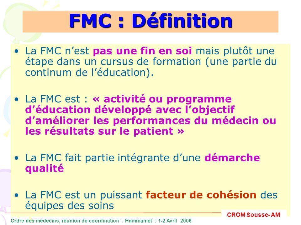 FMC : continuer à se construire Un pléthore de FMC Moyens diversifiés Opportunités multiples Intervenants nombreux CROM Sousse- AM Ordre des médecins, réunion de coordination : Hammamet : 1-2 Avril 2006