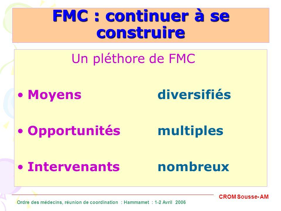 FMI peu appropriée Pratiques médicales hétérogènes Connaissances médicales en expansion Les impératifs de la FMC CROM Sousse- AM Ordre des médecins, réunion de coordination : Hammamet : 1-2 Avril 2006
