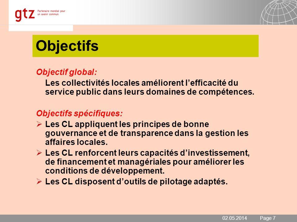 02.05.2014 Seite 8 Page 8 Méthodologie et procédure Domaines et Indicateurs de performances 1.