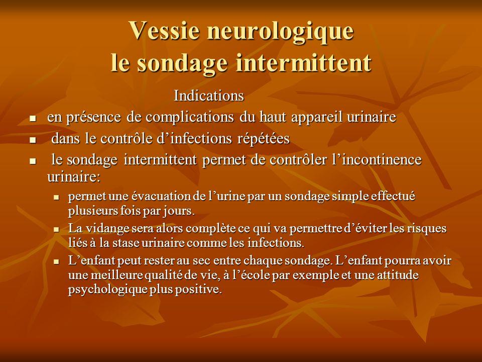 Vessie neurologique sondage intermittent ( suite) On à différents type de sonde mais la plus utilisée est la sonde de type Nélaton.
