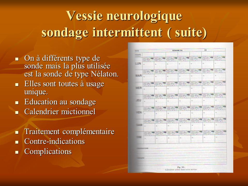 Vessie neurologique Traitement chirurgical La dérivation urinaire temporaire La dérivation urinaire temporaire La vésicotomie cutanée La vésicotomie cutanée