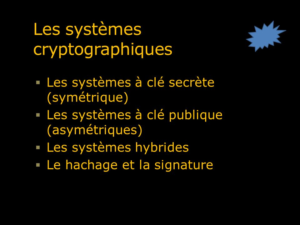 Les systèmes cryptographiques à clé secrète Systèmes où la même clé sert au chiffrage et au déchiffrage des messages