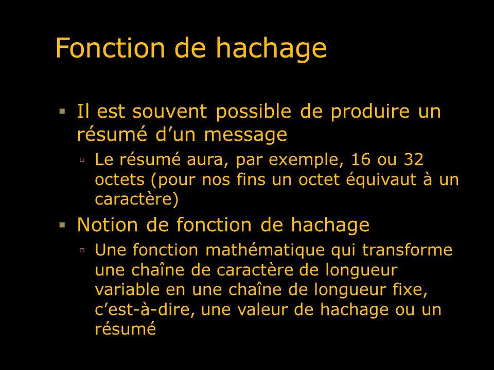 Fonction de hachage Dans une bonne fonction de hachage, tous les bits du résumé (image) sont influencés par tous les bits de la chaîne reçue (pré- image) Si un bit est changé, au moins 50% des bits du résumé change Étant donné une chaîne reçue et son résumé, il nest pas réalisable informatiquement de produire une autre chaîne dentrée produisant la même valeur de hachage, i.e.