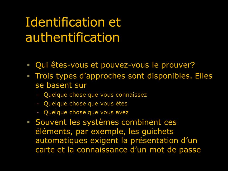 Le certificat numérique Une réponse à ce besoin didentification et dauthentification en contexte de réseau Un document officiel attestant dune chose En pratique, le certificat atteste notre identité dans un monde numérique Le certificat est émis par un prestataire de service de certificats (autorité de certification) Dans le contexte actuel Un certificat numérique atteste le plus souvent la relation entre une clé publique et un site web
