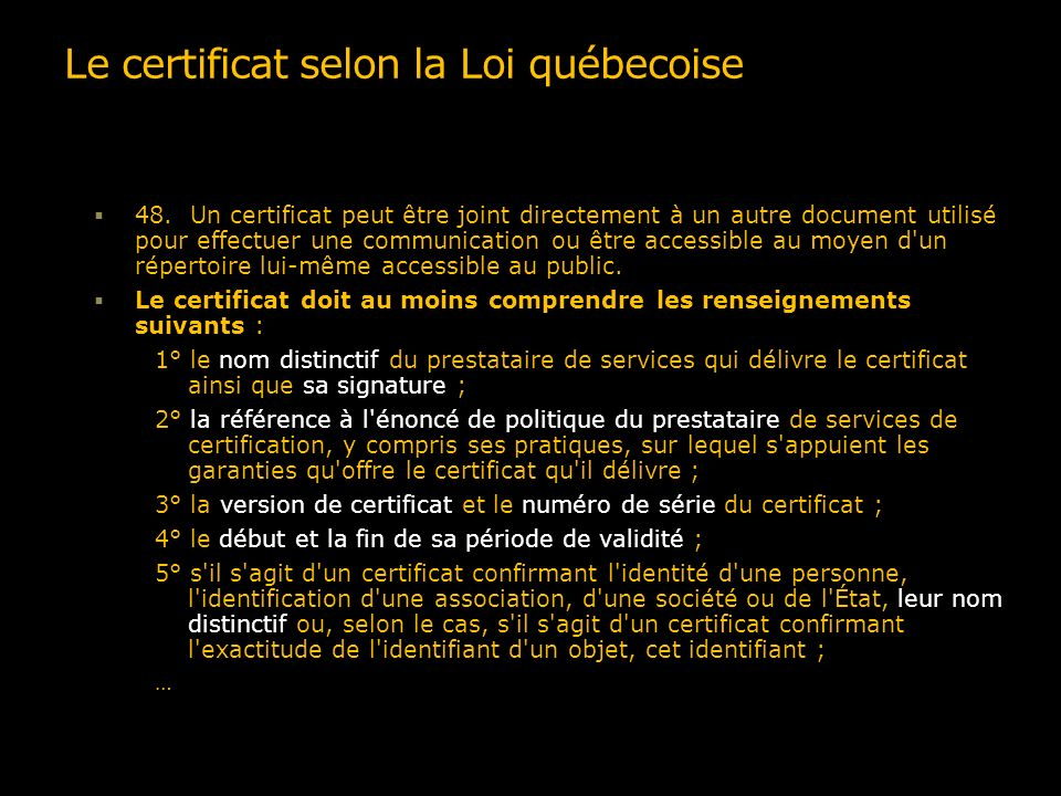 La structure dun certificat X.509 v3 Certificate Version Serial Number Algorithm ID Issuer Validity Not Before Not After Subject Subject Public Key Info Public Key Algorithm Subject Public Key Issuer Unique Identifier (Optional) Subject Unique Identifier (Optional) Extensions (Optional)...