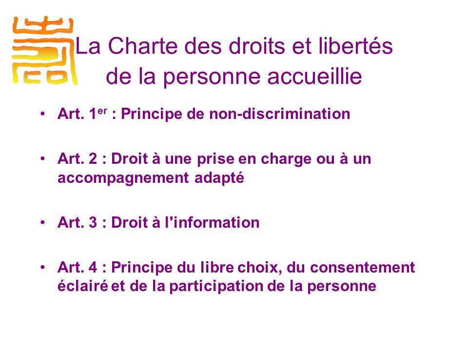 Art.5 : Droit à la renonciation Art. 6 : Droit au respect des liens familiaux Art.