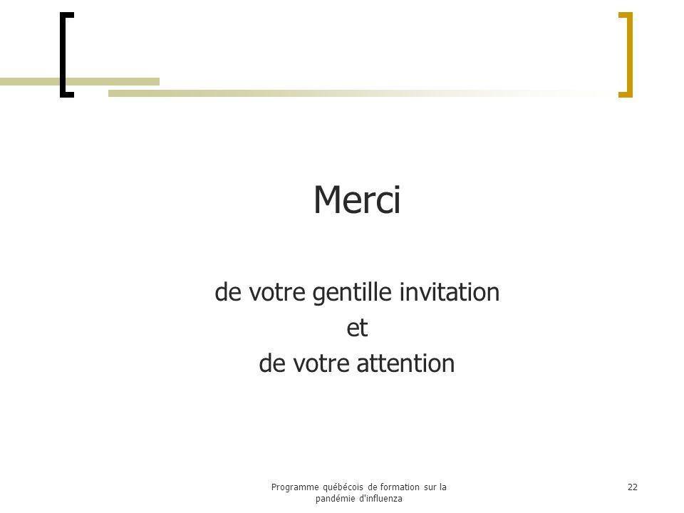 Questions 23Programme québécois de formation sur la pandémie d influenza