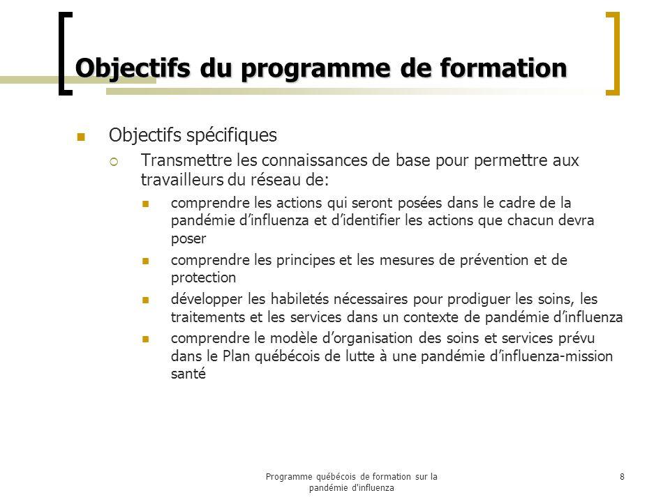Principes directeurs Des efforts soutenus doivent être réalisés par les responsables du projet : Pour cibler des formations jugées essentielles et Pour identifier les activités à être élaborées à titre dinformation par la Direction des communications.