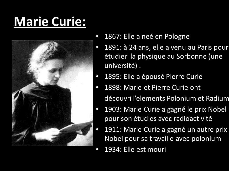 LImpact de Marie Curie sur le Monde: Marie Curie était la première femme qui a gagné un Prix Nobel Elle était aussi le suel lauréat qui a gagné un Prix Nobel dans deux domaines scientifiques distincts (la physique et la chimie)