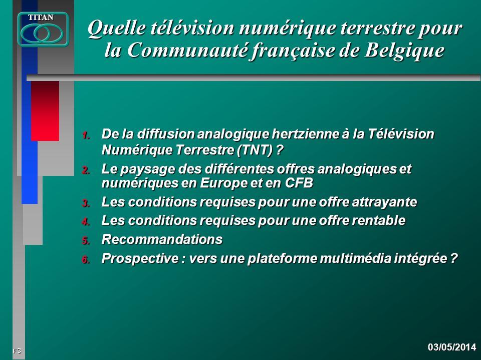 4 FTITAN03/05/2014 Historique des différents modes de diffusion de la télévision analogique : La télévision analogique : n La diffusion hertzienne, outil fondateur de la transmission la télévision.