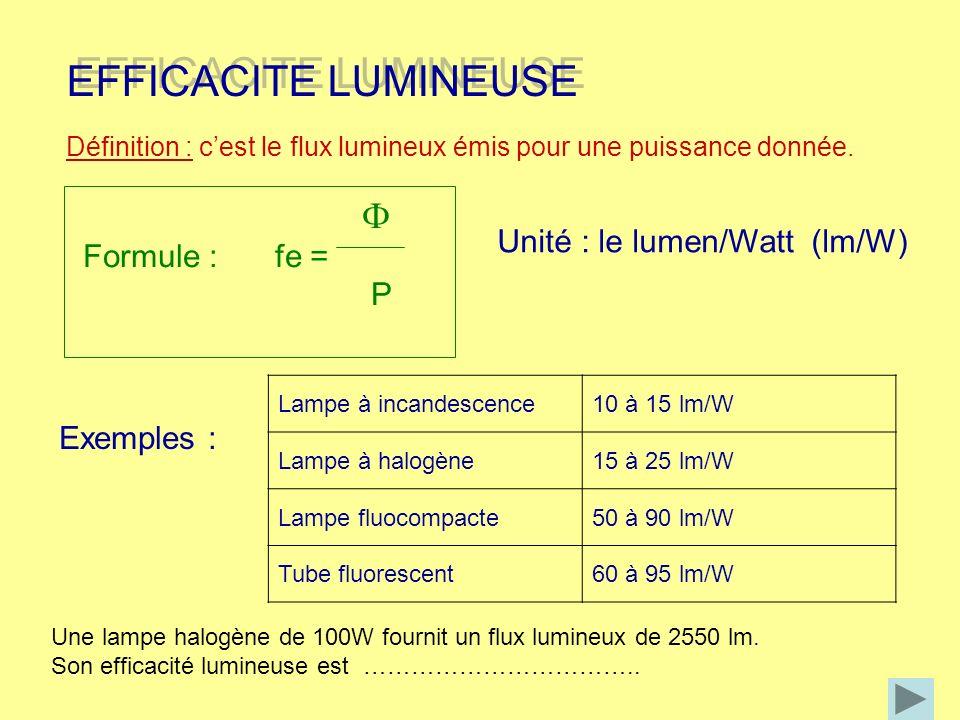 EFFICACITE ENERGETIQUE EFFICACITE ENERGETIQUE Définition : cest le rapport entre la puissance électrique absorbée et le flux lumineux émis par une même source lumineuse Unité : le Watt/lumen (W/lm) P Formule : k = Selon les directives de lunion européenne