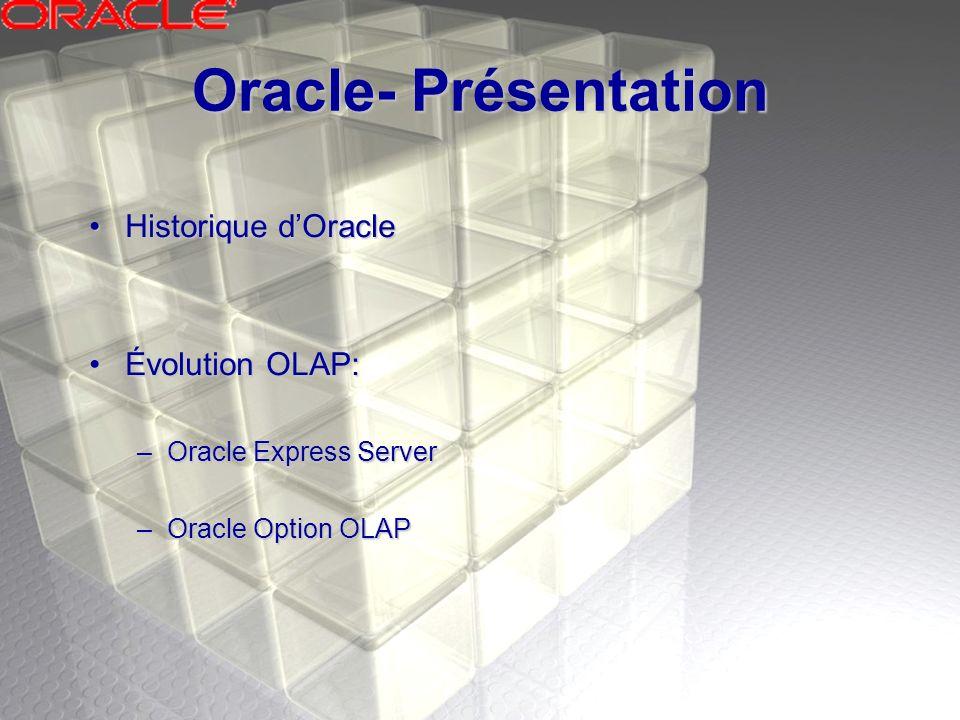 Oracle OLAP- Avantage Simplification de la gestionSimplification de la gestion Disponibilité élevéeDisponibilité élevée Sécurité élevéeSécurité élevée Accès ouvertAccès ouvert Réduction du temps de mise à jourRéduction du temps de mise à jour Fiabilité de données amélioréFiabilité de données amélioré