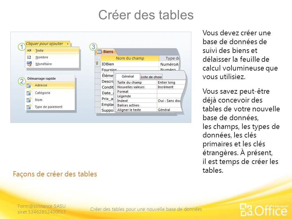 Créer des tables Façons de créer des tables Pour rappel, dans une base de données relationnelle, les tables stockent vos données.