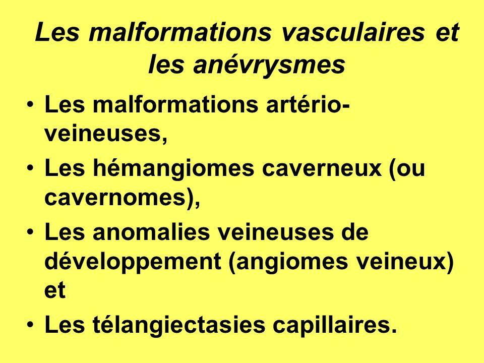 LES HÉMANGIOMES CAVERNEUX OU CAVERNOMES Lésions formées par des espaces sinusoïdes bordés dendothélium contenant des caillots sanguins dâge variable.