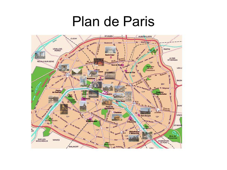 La tour EIFFEL –Elle est devenue le symbole de Paris –Son nom vient de lingénieur qui la projetée: Gustave Eiffel –Elle a été construite en 1889, à loccasion de lExposition Universelle et pour le centenaire de la Révolution française –Elle a été construite en deux ans –Beaucoup de parisiens la voulaient démolir –Elle est haute 320 mètres –Elle repose sur quatre pieds et elle compte trois étages