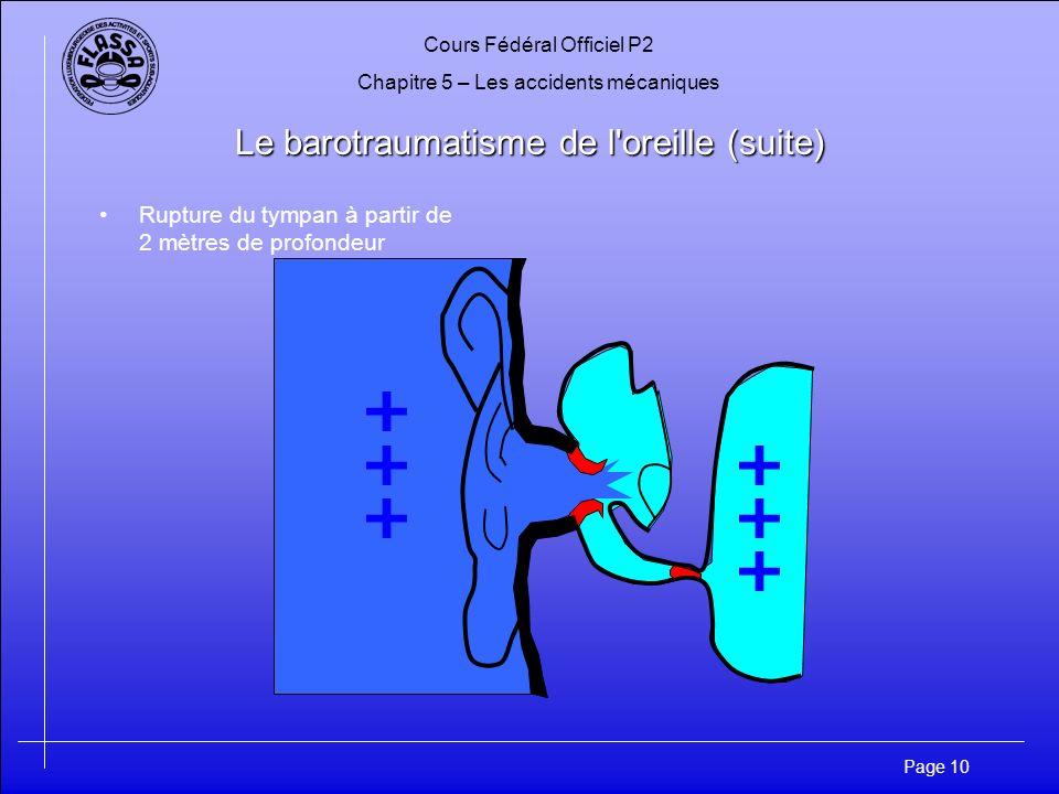 Cours Fédéral Officiel P2 Chapitre 5 – Les accidents mécaniques Page 11 Le barotraumatisme de l oreille (suite) Trompe dEustache obstruée pendant la remontée