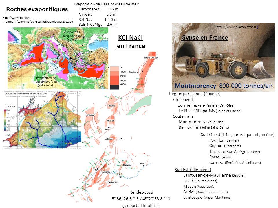 Epaisseur théorique des évaporites fournies par lévaporation de 1000 m deau de mer: Carbonates : 0,05 m Gypse : 0,5 m Sel-Na : 12, 0 m Sels-K et Mg : 2,6 m http://www.museeduplatre.fr Dasht e Lut http://www.mnhn.fr/mnhn/geo/messinien.html Rendez-vous 5° 36 26.6 E / 43°2058.8 N géoportail Infoterre