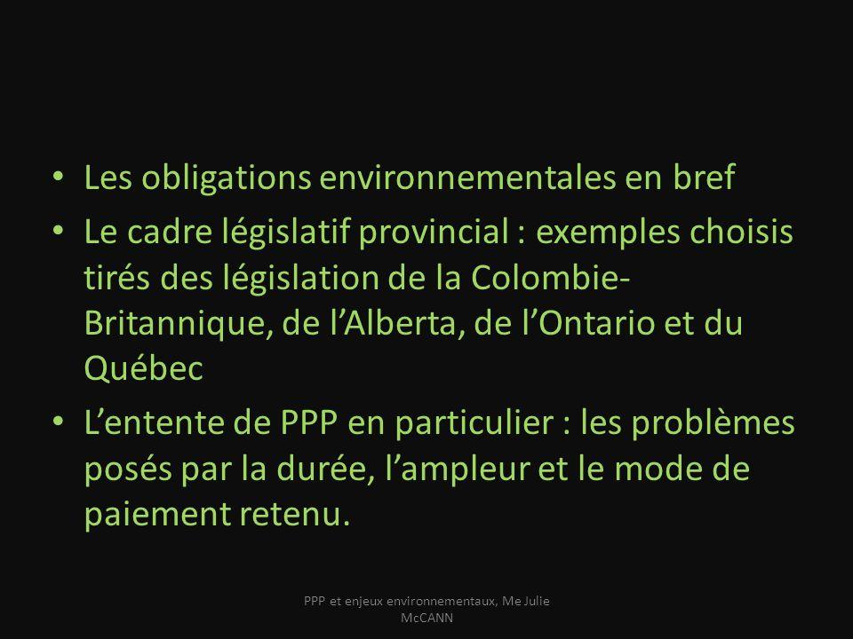 Les obligations environnementales – Interdiction générale de rejet de contaminants – Obligation de précaution et de prudence – Pouvoirs réglementaires futur – Obtention de permis et certificats dautorisation – Protection et la réhabilitation des terrains PPP et enjeux environnementaux, Me Julie McCANN
