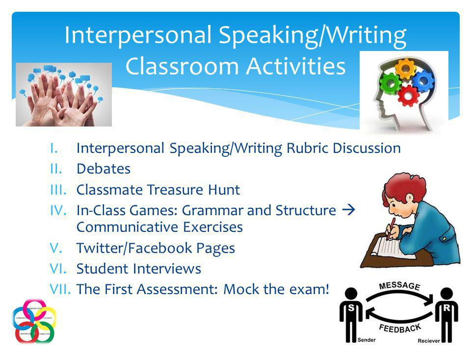 I.Interpersonal Speaking/Writing Rubric Discussion II.Debates III.Classmate Treasure Hunt IV.In-Class Games: Grammar and Structure Communicative Exercises V.Twitter/Facebook Pages VI.Student Interviews VII.The First Assessment: Mock the exam.